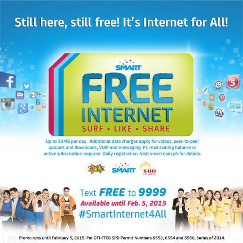 Smart #FreeInternet Extended until February 5, 2015